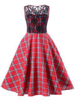 Spitzenbesatz Plaid 50er Jahre Swing Kleid - Rot 2xl