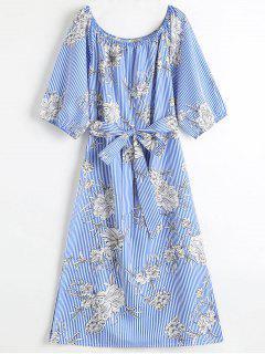 Robe Mi-longue Florale à Rayures à Épaules Dénudées - Bleu M