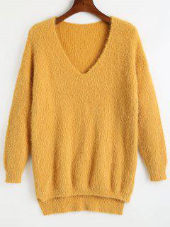 Suéter Alto Bajo Cuello En V Cuello - Amarillo