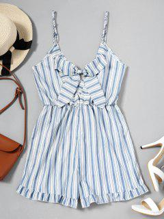 Bowknot Ruffles Stripes Barboteuse - Rayure M