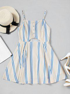 Half Zip Stripes Cut Out Mini Dress - Stripe M