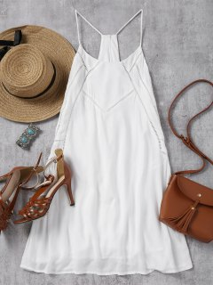 Back Zip Slip Sheer Mini Dress - White L