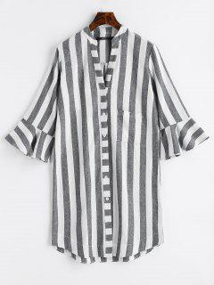 Flare Sleeve Striped Pocket Blouse - Stripe S