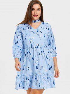 Vestido De Gargantilla Con Estampado De Plumas Con Volantes Y Tallas Grandes - Azul 3xl