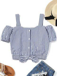 Straps Bowknot Striped Blouse - Stripe L