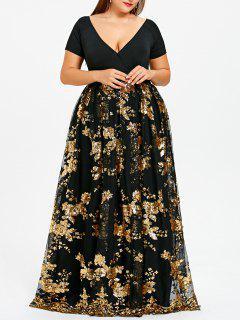 Plus Size Floral Sparkly Maxi Abendkleid - Schwarz 4xl