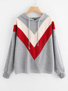 Drawstring Contrasting Oversized Hoodie - Gray S