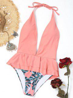 Plunging Neck Ruffles Palm Leaf Swimwear - Pink M