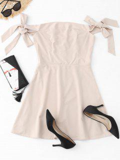 Off The Shoulder Bowknot Mini Dress - Apricot M