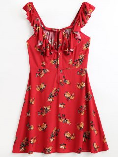 Ruffles Floral Beach Dress - Red S