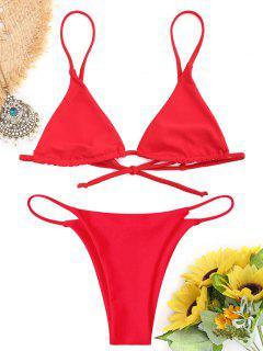 Bralette Thong String Bikini Set - Red L