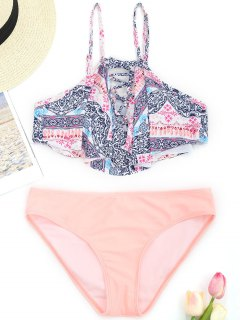 Ensemble De Bikini Imprimé à Lacets Superposés - Rose Clair S