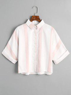 Loose Button Down Striped Shirt - Pink