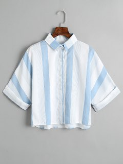 Loose Button Down Striped Shirt - Light Blue