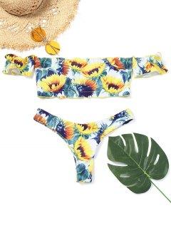 Bikini Thong Imprimé Tournesol à épaules Dénudées - Floral M