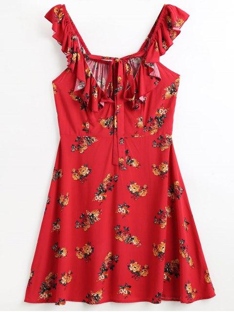 Volantes vestido de playa floral - Rojo L Mobile