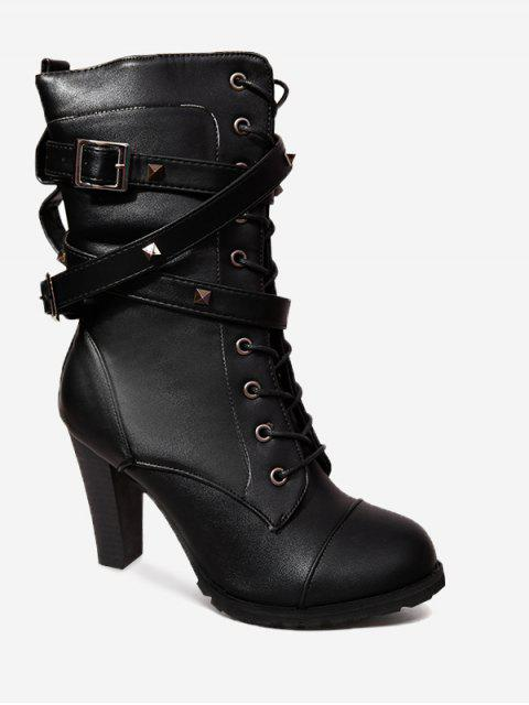 hot Studded Chunky Heel Mid-calf Combat Boots - BLACK 41 Mobile