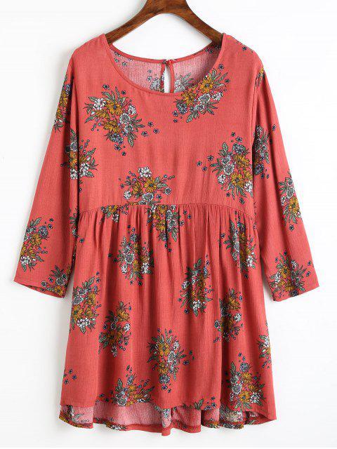 Blusa baja con estampado floral - Rojo Claro XL Mobile