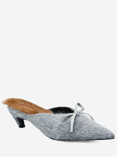 Fuzzy Kitten Heel Bowknot Mules Zapatos - Gris 37 Mobile