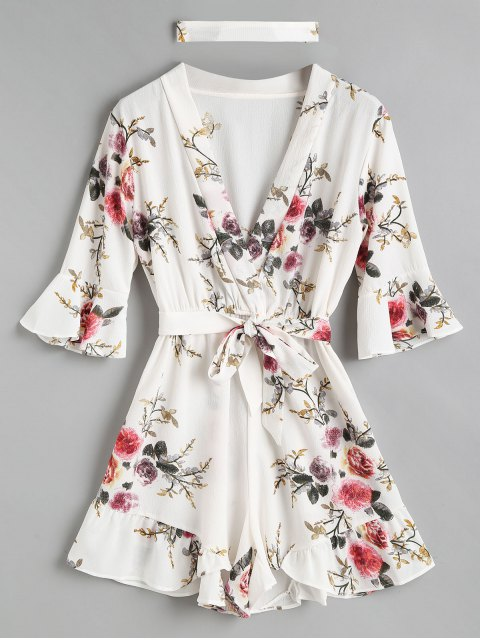 lady Ruffles Floral Choker Romper - WHITE L Mobile