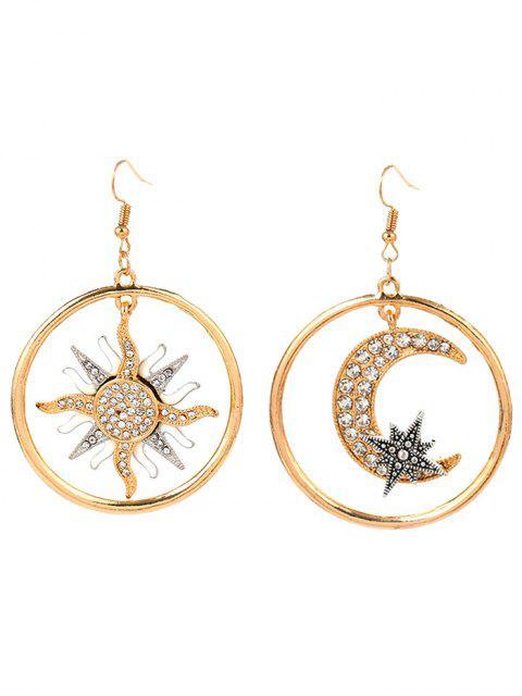 Asymmetric Moon Sun Star Aretes redondos - Dorado  Mobile