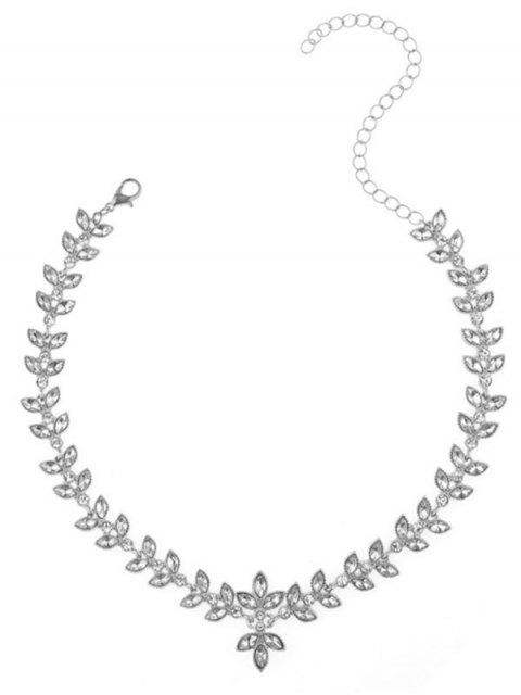 hot Alloy Rhinestone Leaf Collarbone Necklace - SILVER  Mobile