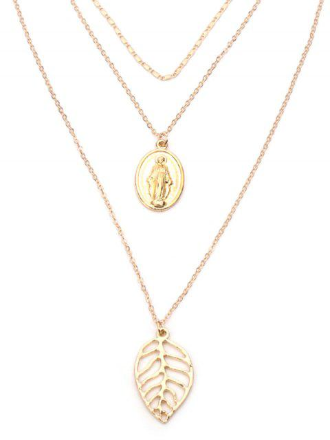 outfits Alloy Leaf Engraved Jesus Layered Necklace - GOLDEN  Mobile
