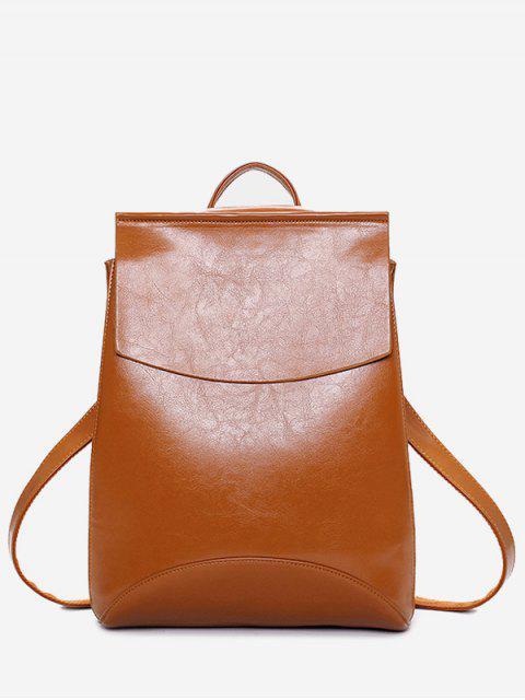 shop PU Leather Portable Backpack With Handle - BROWN  Mobile