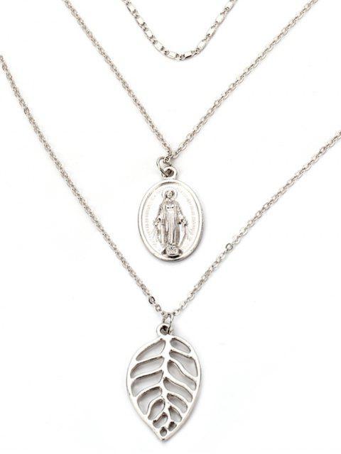 Alloy Leaf graviert Jesus geschichteten Halskette - Silber  Mobile