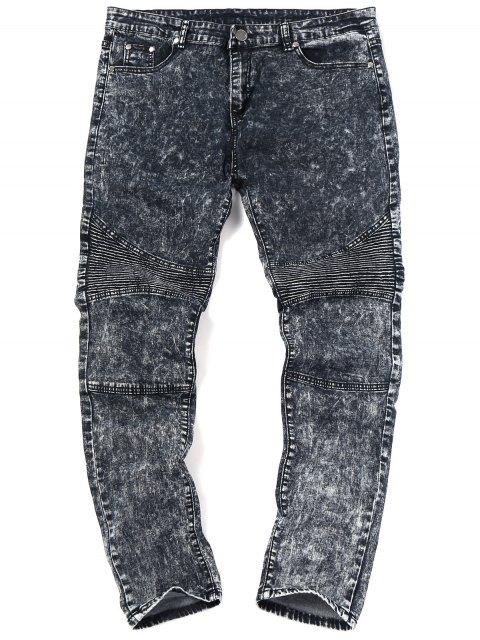latest Snow Wash Biker Jeans - BLACK 36 Mobile