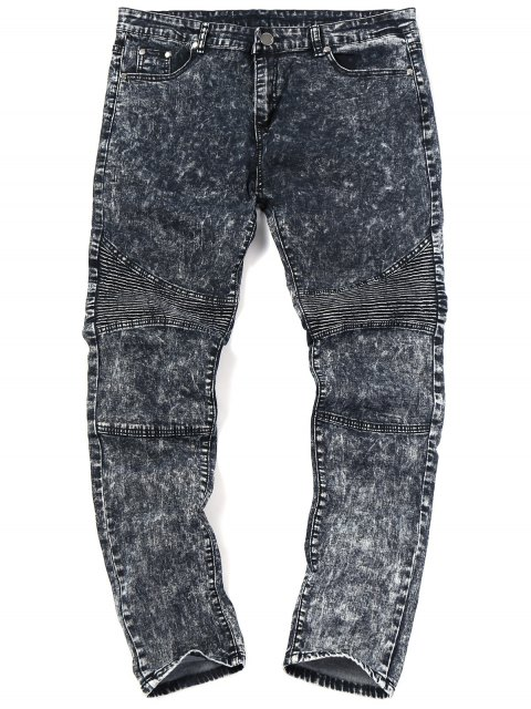 Snow Wash Biker Jeans - Negro 34 Mobile