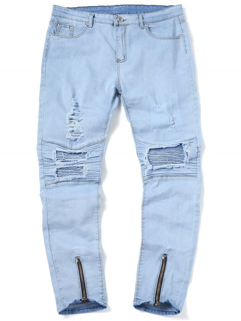 sale Zip Hem Ripped Biker Jeans - LIGHT BLUE 32 Mobile