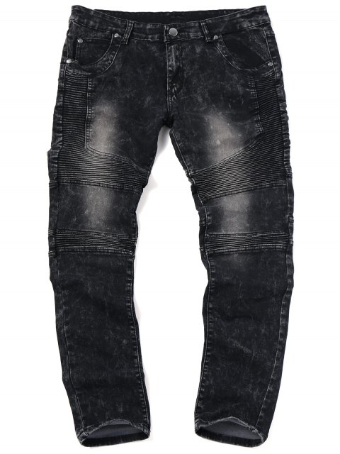 buy Skinny Snow Wash Biker Jeans - BLACK 34 Mobile