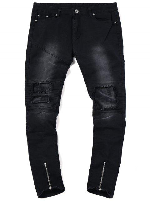 Zip Hem Biker Jeans - Negro 34 Mobile