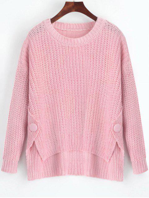 Pull Boutonné Haut-Bas à Fente Latérale - Rose  Taille Unique Mobile