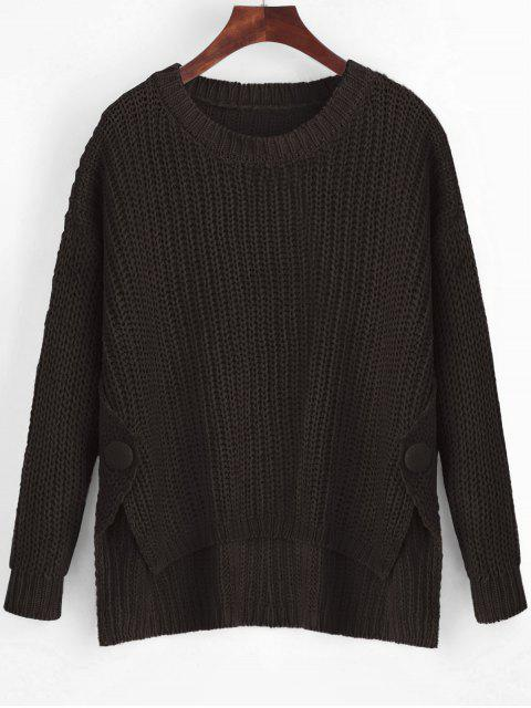 new Buttoned Side Slit High Low Sweater - DEEP BROWN ONE SIZE Mobile