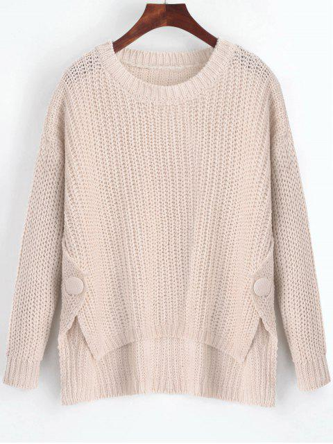 outfit Buttoned Side Slit High Low Sweater - LIGHT APRICOT ONE SIZE Mobile