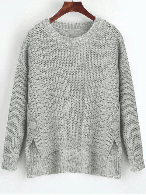 shop Buttoned Side Slit High Low Sweater - GRAY ONE SIZE Mobile