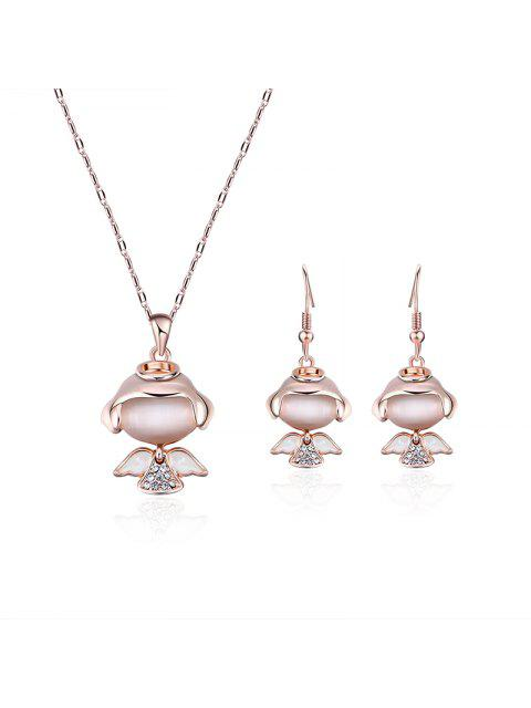 womens Little Angle Faux Diamond Pendant Necklace with Earrings -   Mobile