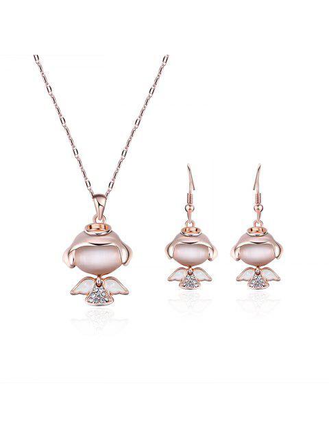 Little Angle Faux Diamant Anhänger Halskette mit Ohrringen - Golden  Mobile
