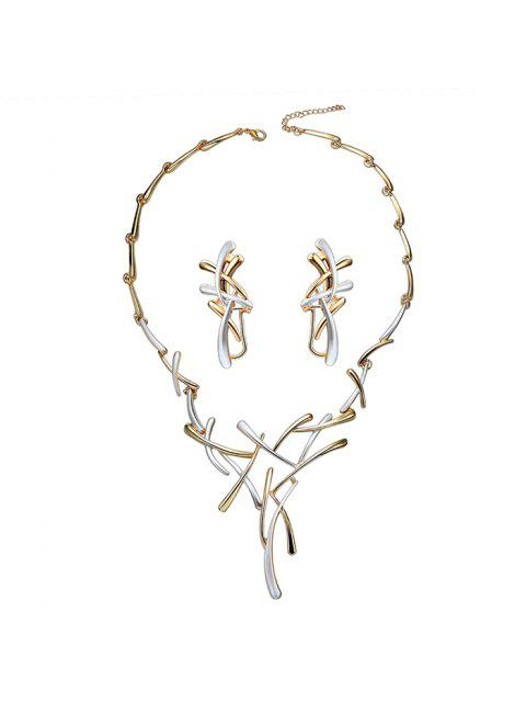 women's Branch Chainsaw Necklace and Clip Earrings - WHITE  Mobile