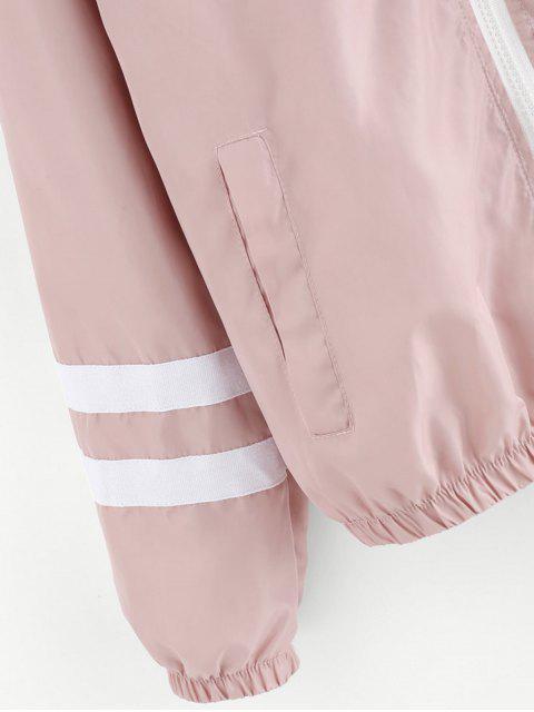 Veste à Fermeture Éclair avec Rayures - ROSE PÂLE M Mobile