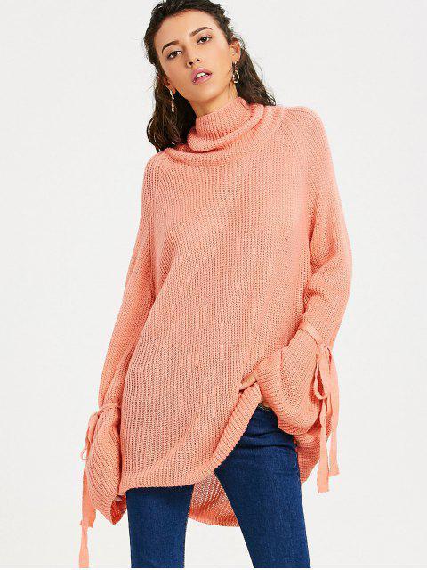 fancy Oversized Turtleneck Chunky Knit Sweater - ORANGEPINK ONE SIZE Mobile