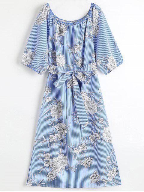 best Floral Off Shoulder Stripes Midi Dress - BLUE S Mobile