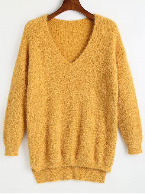 Schlichtes V-Ausschnitt Hoch Niedriger Pullover - Gelb Eine Größe Mobile