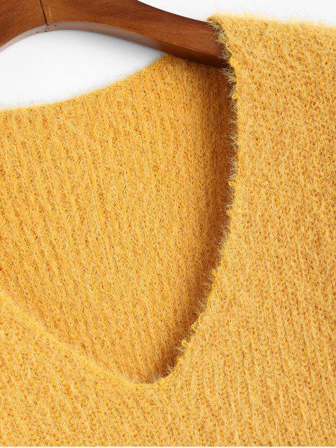 Suéter com Desnível Plano com Gola V - Amarelo Um Tamanho Mobile