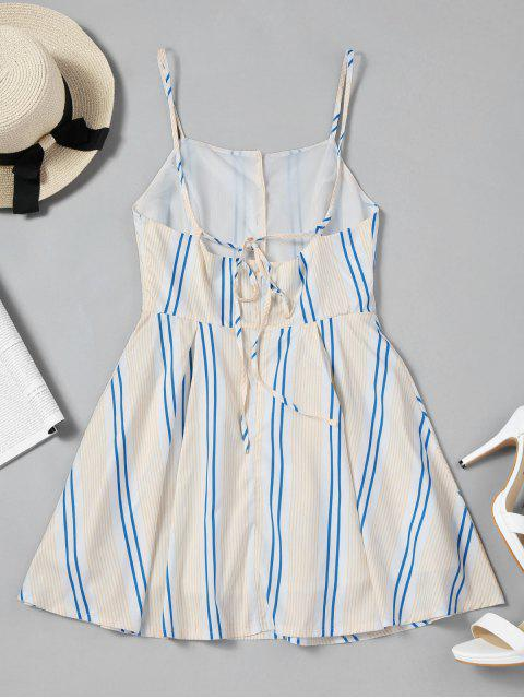 trendy Half Zip Stripes Cut Out Mini Dress - STRIPE L Mobile