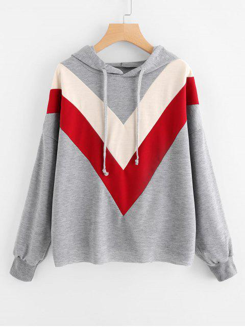 fancy Drawstring Contrasting Oversized Hoodie - GRAY XL Mobile