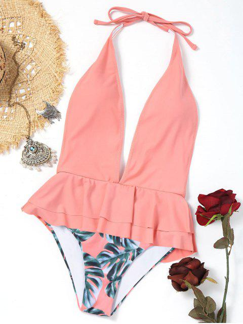 chic Plunging Neck Ruffles Palm Leaf Swimwear - PINK L Mobile