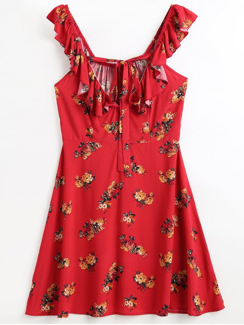 latest Ruffles Floral Beach Dress - RED L Mobile